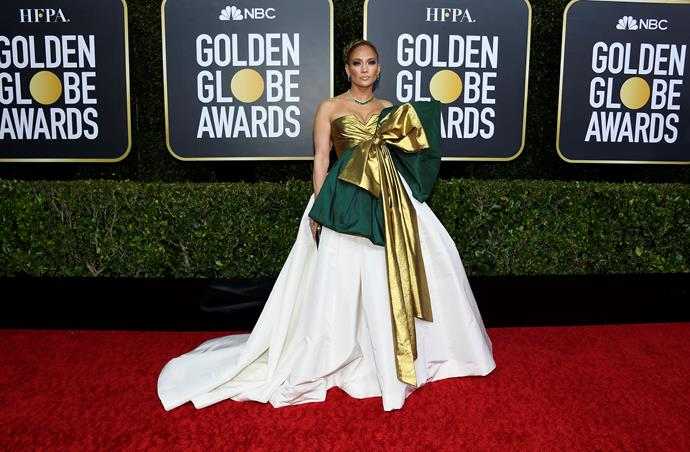 Jennifer Lopez goes all out on the material front - seriously, imagine the Spotlight bill for this much fabric...