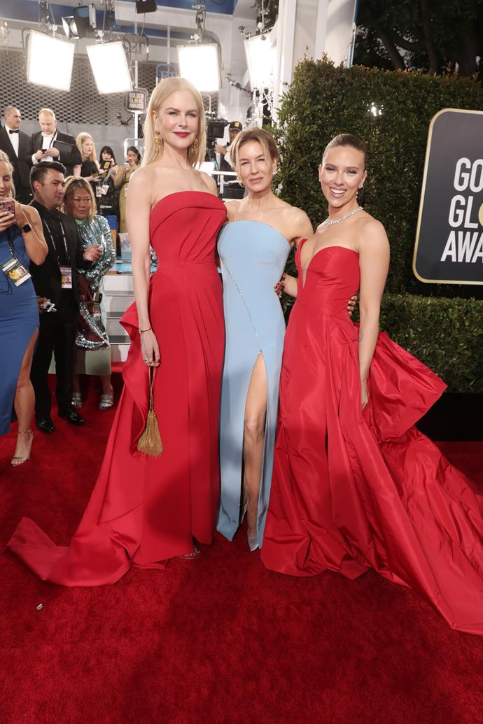The ultimate gal squad! Nicole Kidman, Renée Zellweger, and Scarlett Johansson officially win at the red carpet. No questions asked.