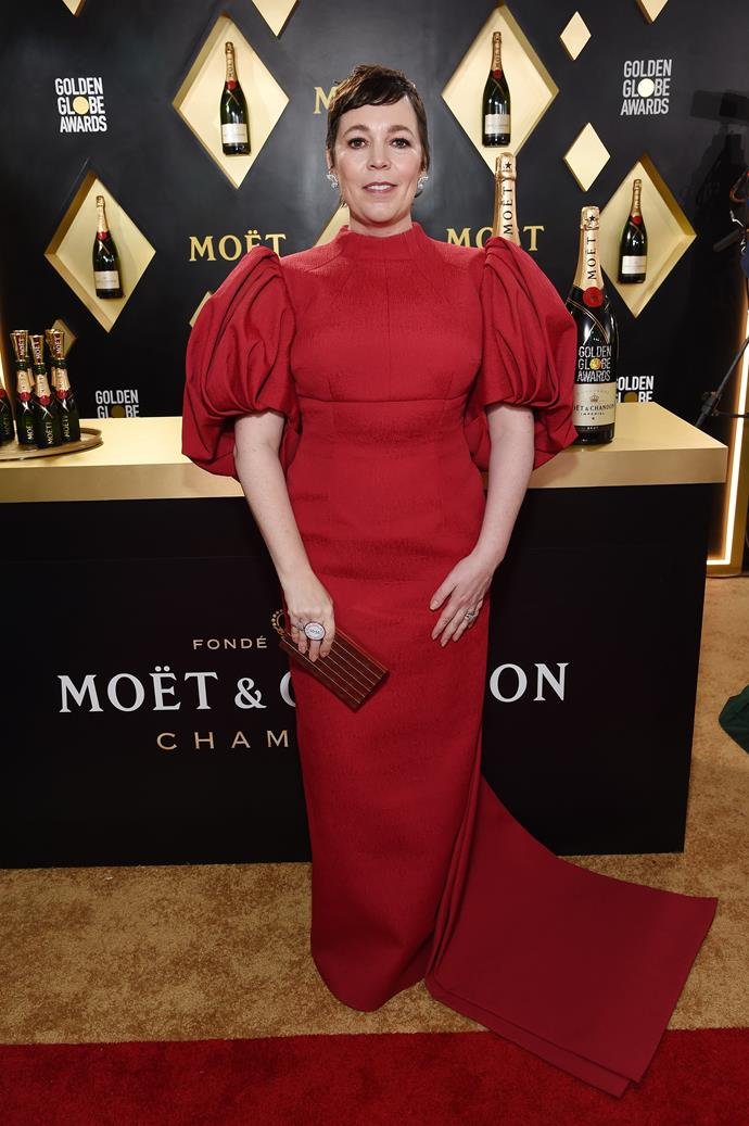 *The Crown's* Olivia Colman is regal in red - there's something rather royal-esque about those sleeves!