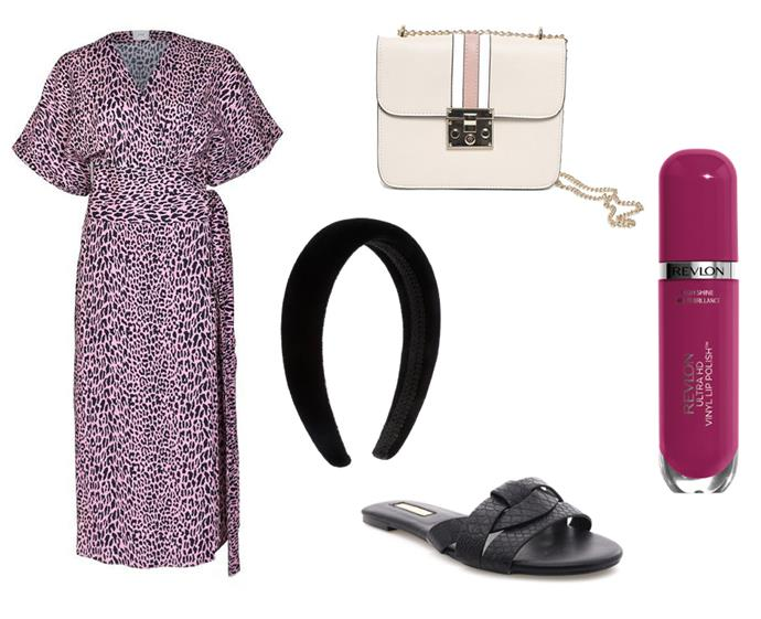 "Dress by Husk, $79 to rent at [GlamCorner](https://www.glamcorner.com.au/designers/husk/lima-wrap-dress-pink-leopard|target=""_blank""