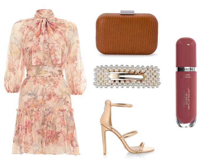 "Dress by Zimmermann, $179 to rent at [GlamCorner](https://www.glamcorner.com.au/designers/zimmermann/espionage-neck-tie-mini|target=""_blank""