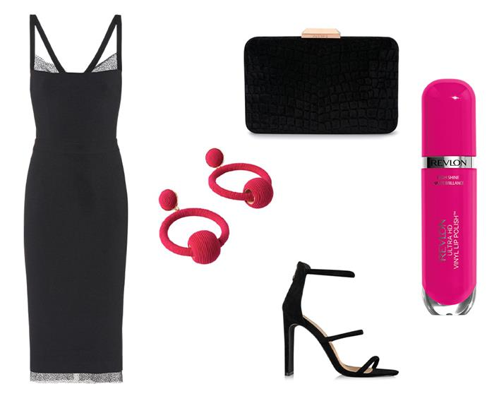 """Dress by Rebecca Vallance, $149 to rent at [GlamCorner](https://www.glamcorner.com.au/designers/rebecca-vallance/demoiselles-dress-black target=""""_blank"""" rel=""""nofollow""""); Velvet clutch by Olga Berg, $29 to rent at [GlamCorner](https://www.glamcorner.com.au/designers/olga-berg/annalise-croc-embossed-velvet-clutch-black target=""""_blank"""" rel=""""nofollow""""); Earrings by Adorne, $29 at [GlamCorner](https://www.glamcorner.com.au/designers/adorne/wound-twine-ring-and-ball-drop-earrings target=""""_blank"""" rel=""""nofollow""""); Heels by Billini, $99 at [GlamCorner](https://www.glamcorner.com.au/designers/billini/dita-black-suede target=""""_blank"""" rel=""""nofollow""""); Ultra HD Vinyl Lip Polish in Rule the World by Revlon, $24.95 at [Chemist Warehouse](https://www.chemistwarehouse.com.au/buy/95112/revlon-ultra-hd-vinyl-lip-polish-rule-the-world?rcid=4350 target=""""_blank"""" rel=""""nofollow"""")"""
