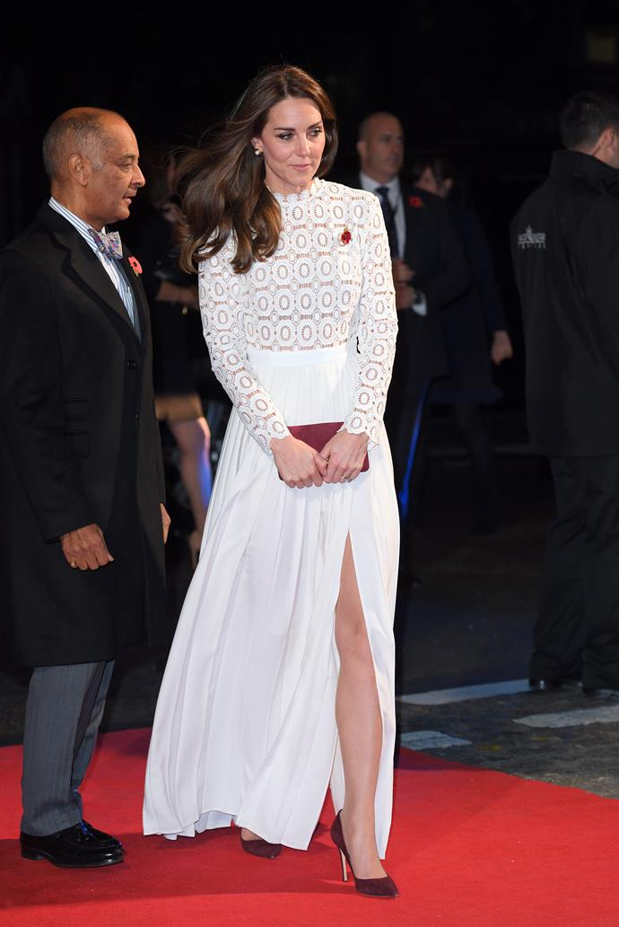 Duchess Catherine baring her legs in 2016.