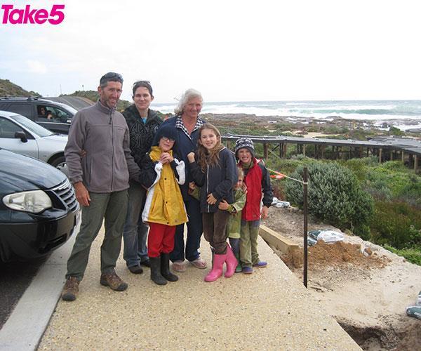From left: Aaron, Katrina, Rylan, Kim, Taye, Kadyn and Ayre.