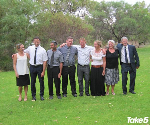Aaron (third from left) with his siblings and parents.