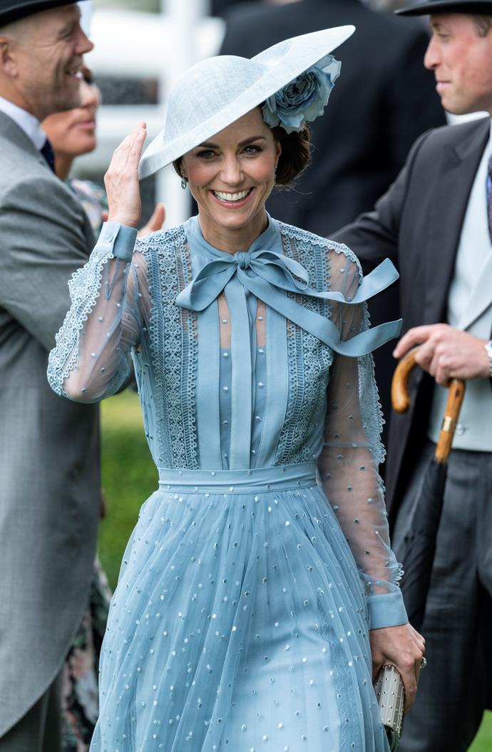 **Beautiful in blue:** Trust Kate to bring a touch of elegance to Royal Ascot.