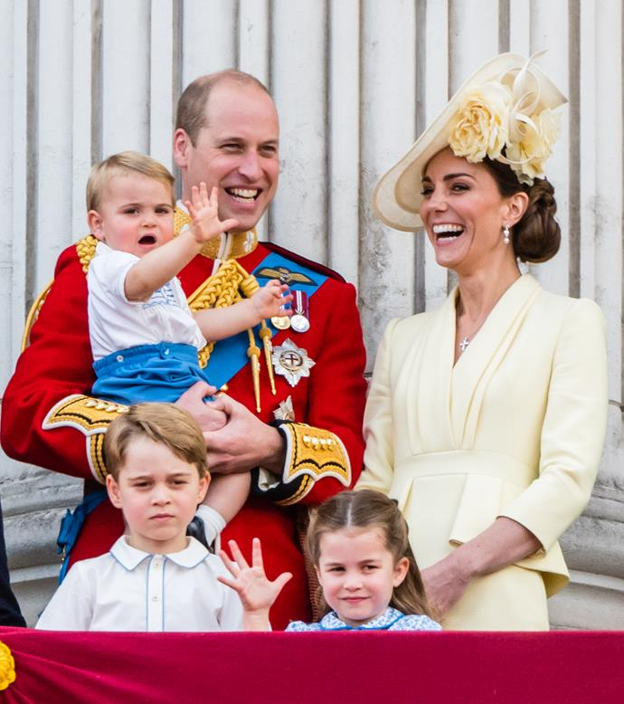 **Family comes first:** The Duchess of Cambridge shone in yellow for the 2019 Trooping the Colour.