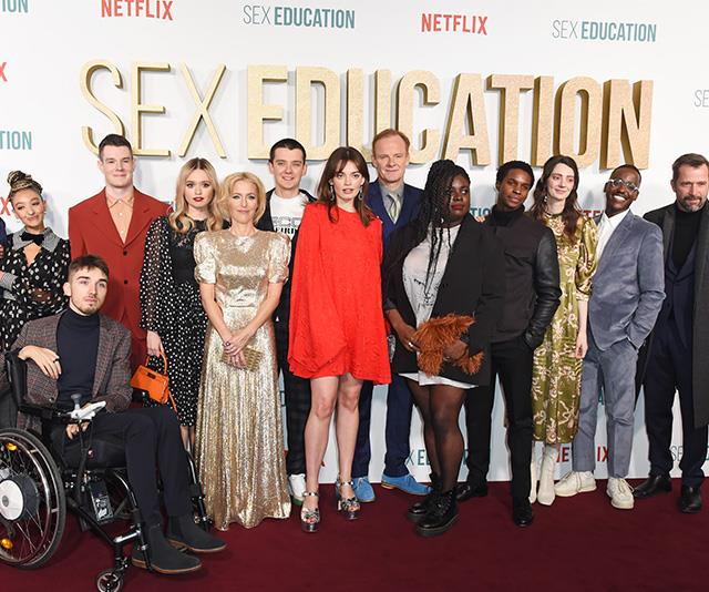 The entire cast of *Sex Education* on the red carpet at the show's season two premiere.