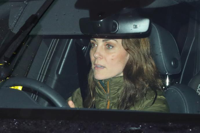 The Duchess travelled with her young son Prince Louis in the back seat.