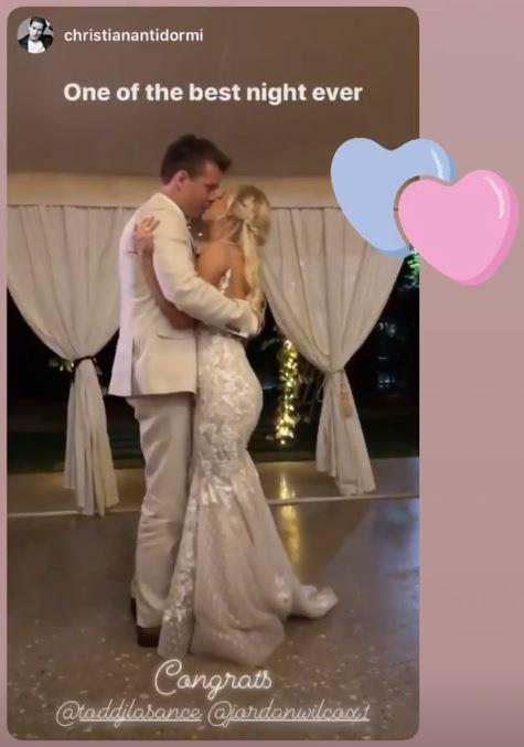 One guest captured the couple's loved-up first dance on their Instagram stories.