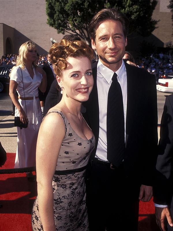 *The X-Files* co-stars Gillian Anderson and Dave Duchovny at the 1996 Emmy Awards.