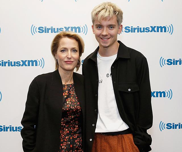 Gillian and her *Sex Education* co-star Asa Butterfield, who plays her son Otis on the show, during media commitments in 2018.