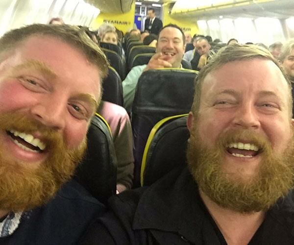 "Neil Douglas was boarding a plane on his way to a wedding in Ireland when he noticed a man was accidentally in his seat.  <br><br> He kindly asked him to move, but when the man turned around, he was taken aback by how remarkably similar they looked.  <br><br> ""The whole plane looked at us and laughed. And that's when I took the selfie,"" said Neil, who later posted the photo on Twitter, causing worldwide attention."