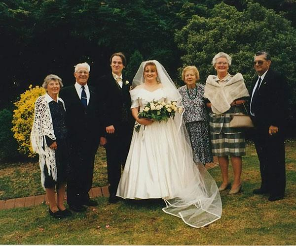 Steve and me with our family on our wedding day.