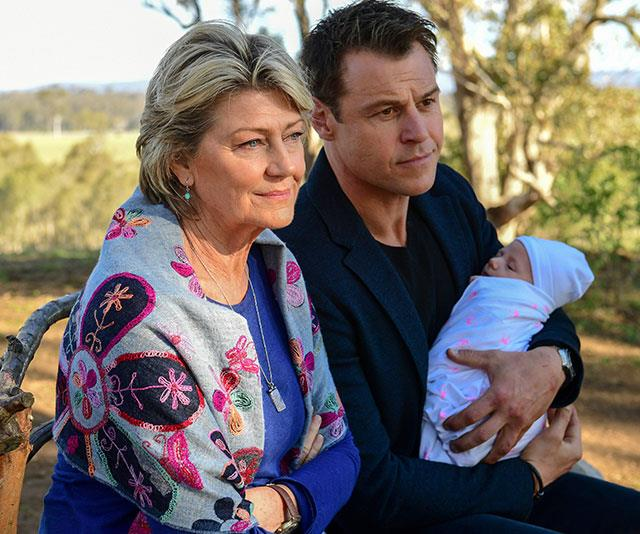 New dad Hugh leans on mum Meryl as they contemplate the future.