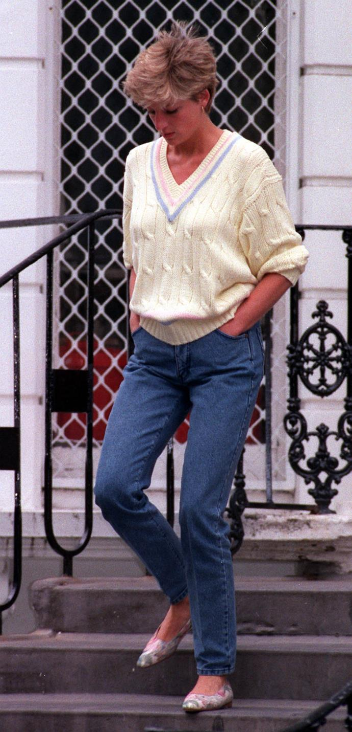 Back to her casual-cool ensembles, Diana *knew* how to nail the cable knit and denim combo.