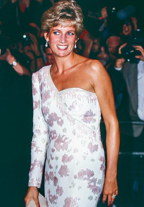 In 1991, Diana visited London's West End in a one-shoulder creation that can only be described as heavenly.