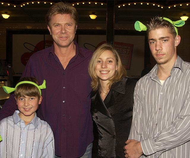 Richard (second from left) with his children (L-R) Christian, Rebecca and Nick, pictured at the *Shrek 2* premiere in Sydney in 2004.