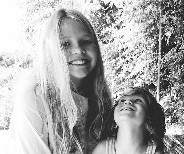 Collette Dinnigan's daughter Estella and her son Hunter, from a different relationship.