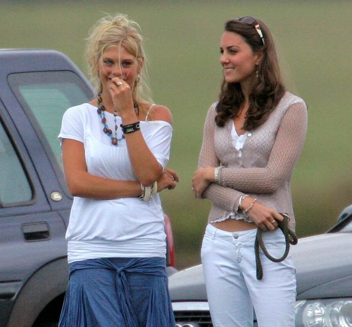 RIP the days Kate could bare her midriff in public. Bonus points for Prince Harry's then-girlfriend Chelsy Davy's off-the-shoulder ensemble.