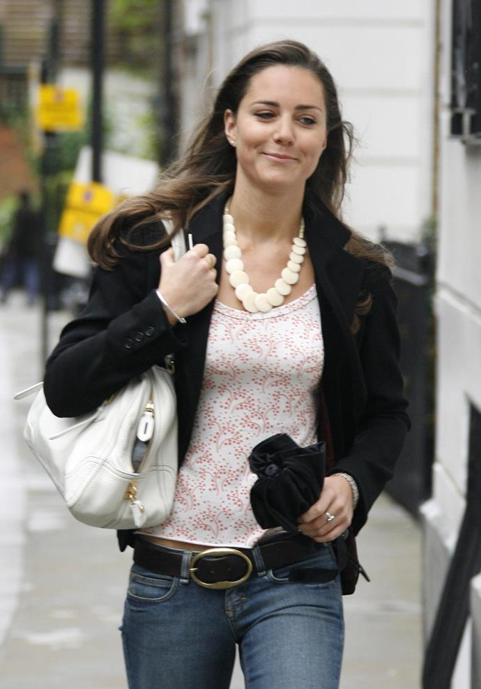 Chunky necklaces and big handbags are all in the past for the Duchess of Cambridge.
