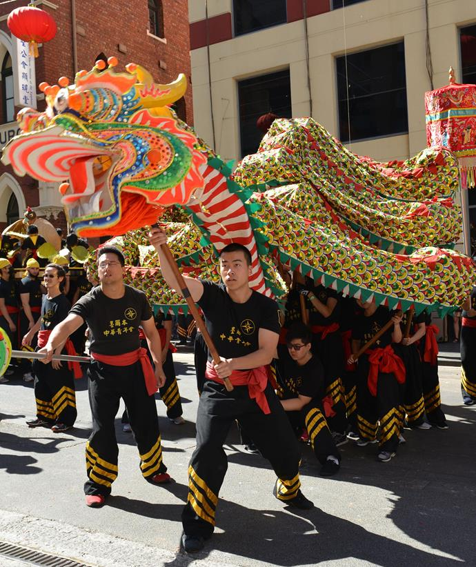 Melbourne's Dragon parade is a highlight of the festivities.