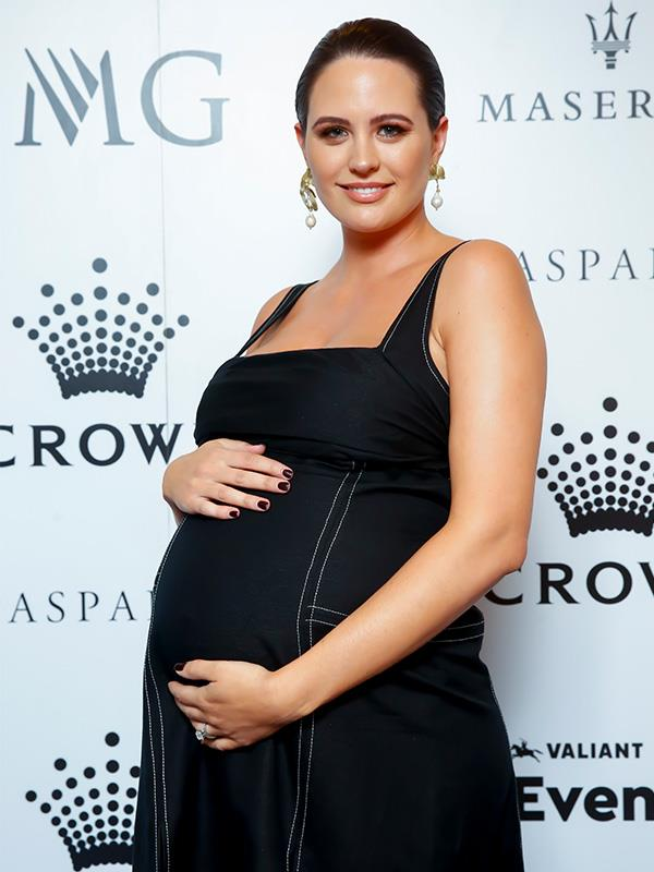 In January, as she edged closer and closer to her due date, Jesinta put on her Sunday best to attend the Crown IMG Tennis Party at Melbourne's Crown Hotel, to mark the start of the Australian Open.