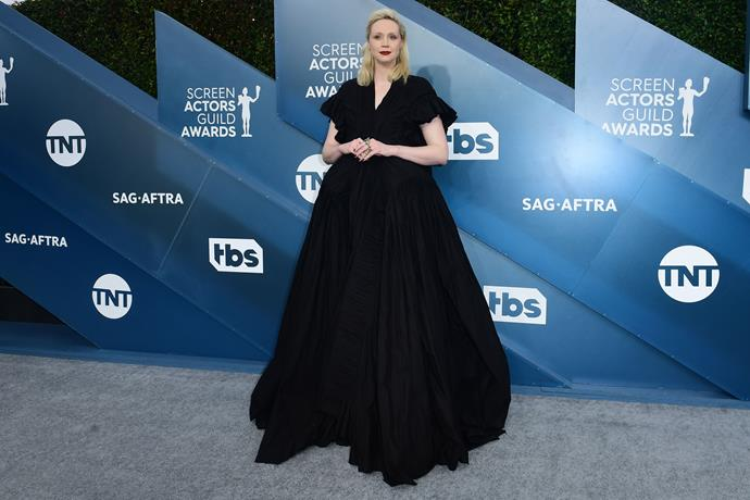 British actress Gwendoline Christie isn't short on fabric in this voluminous black creation.
