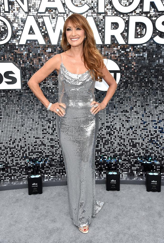 68-year-old actress Jane Seymour is dripping in glamour in a sleek silver creation.