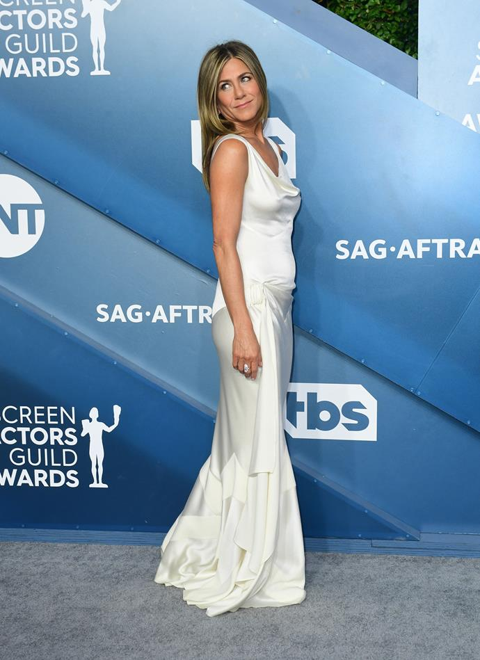 Jennifer Aniston gives us bridal-inspo a-plenty in this satin creation.