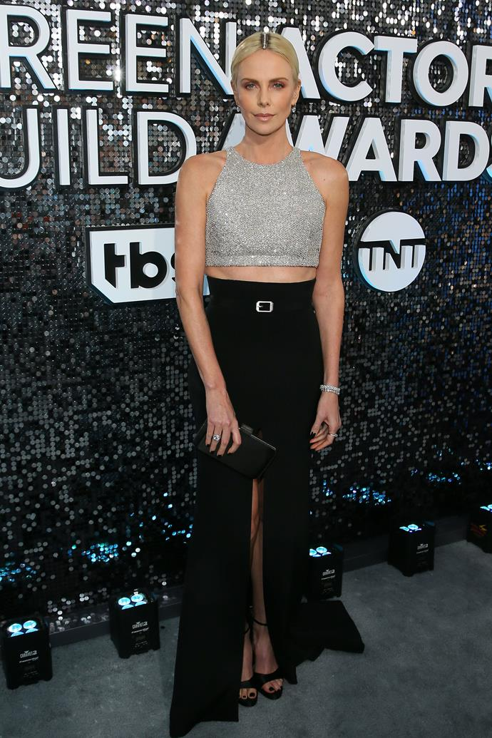 Charlize Theron makes a strong case for the midriff in a cropped sequin design.