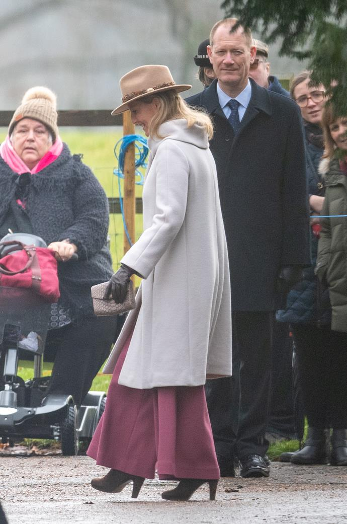 "Wide-legged pant queen! Sophie rocked a pair of flowy maroon trousers as she attended a church service at Sandringham in late 2019. We're loving her [chic hat](https://www.nowtolove.com.au/royals/british-royal-family/kate-middleton-church-queen-57822|target=""_blank""), too!"