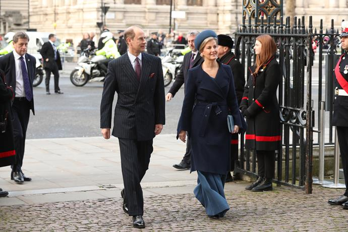 Proving she's the effortless style maven we know and love her to be, Sophie looked incredible as she rocked up to Westminster Abbey in a pair of gorgeus wide-legged trousers and chic blue coat in November 2019.
