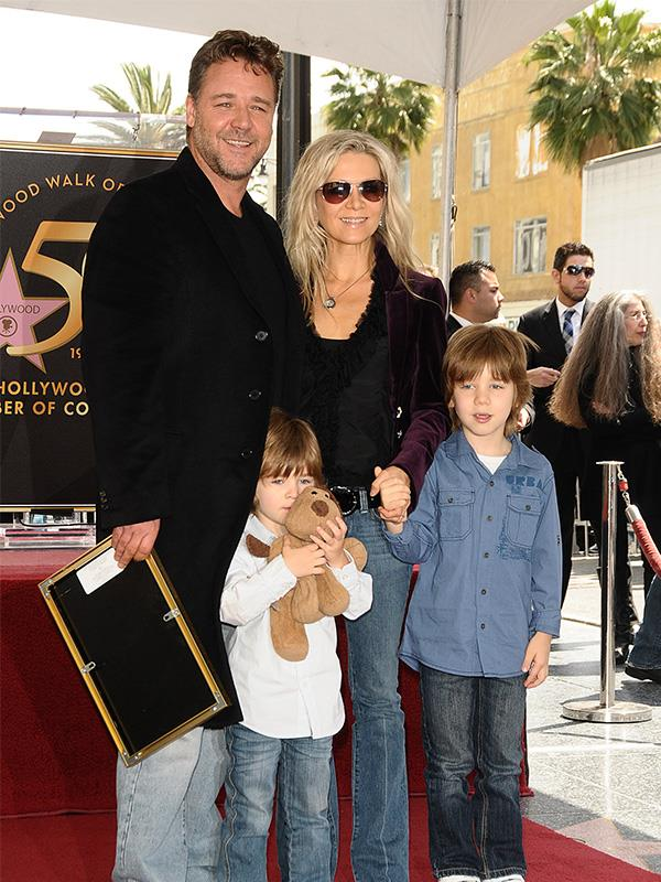 Russell Crowe pictured in 2010 with his then-wife, Danielle Spencer and their sons Tennyson Spencer Crowe and Charles Spencer Crowe.