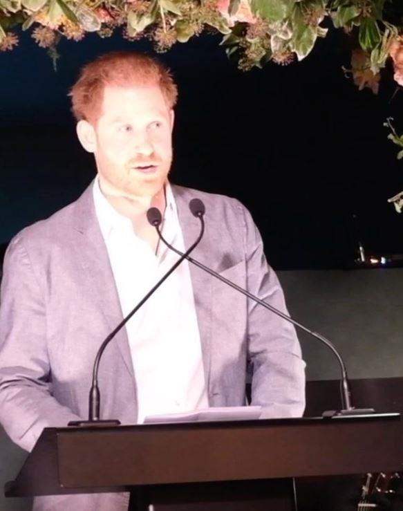 Prince Harry spoke about his and Duchess Meghan's life-changing decision at a private dinner for his charity, Sentebale.
