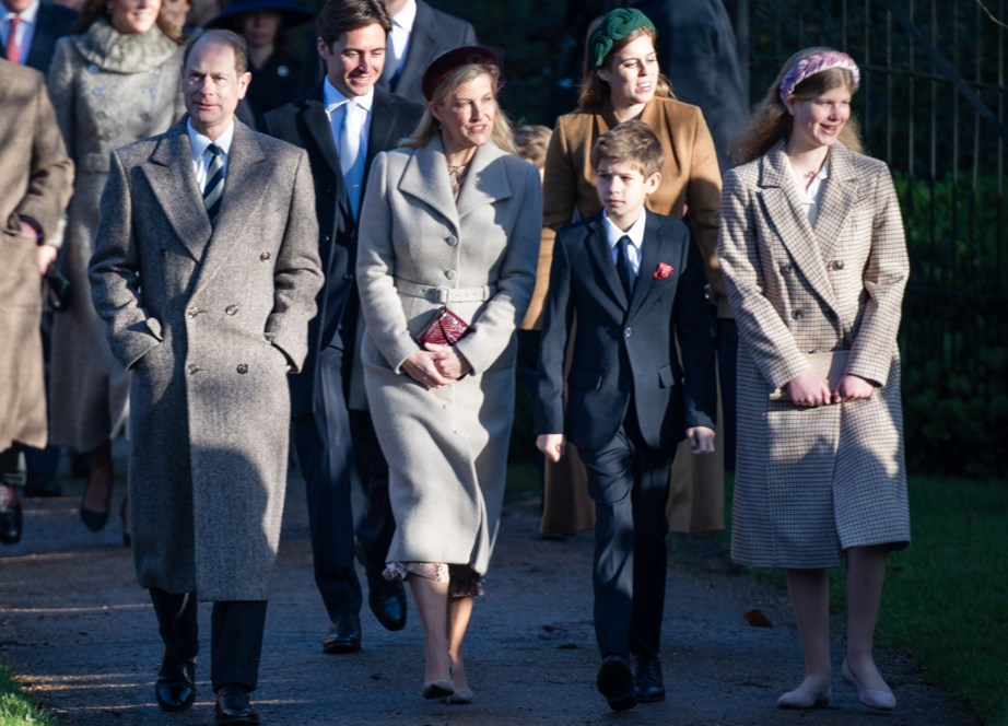 Sophie, Countess of Wessex with her husband Prince Edward and two children James, Viscount Severn and Lady Louise at during the royal walk to church on Christmas Day last year. *(Image: Getty)*
