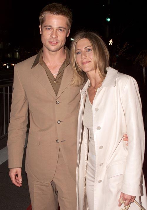 Attending a premiere for *The Mexican*, Brad and Jen semi-synchronised their monochrome ensemles. This is like an aesthetically pleasing version of Britney Spears and Justin Timberlake's double denim monstrosity.