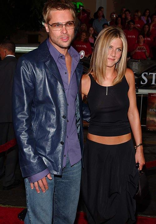 Brad, Jen, and Jen's famous hip bones were out in force for the 2001 *Rock Star* film premiere.