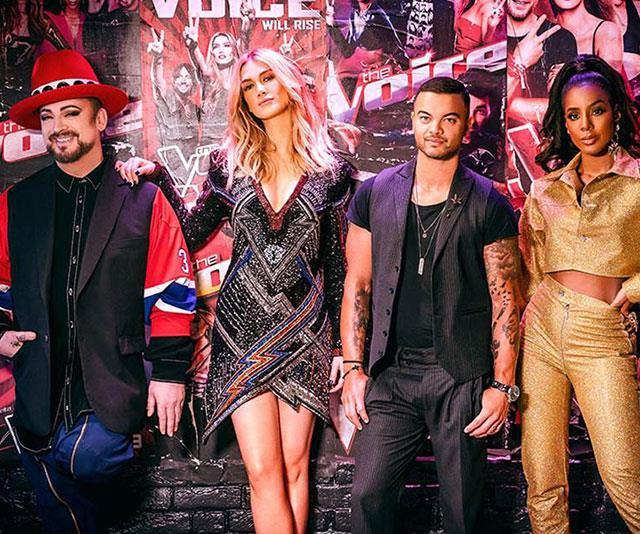 All coaches will return in 2020 (From left: Boy George, Delta Goodrem, Guy Sebastian and Kelly Rowland.)