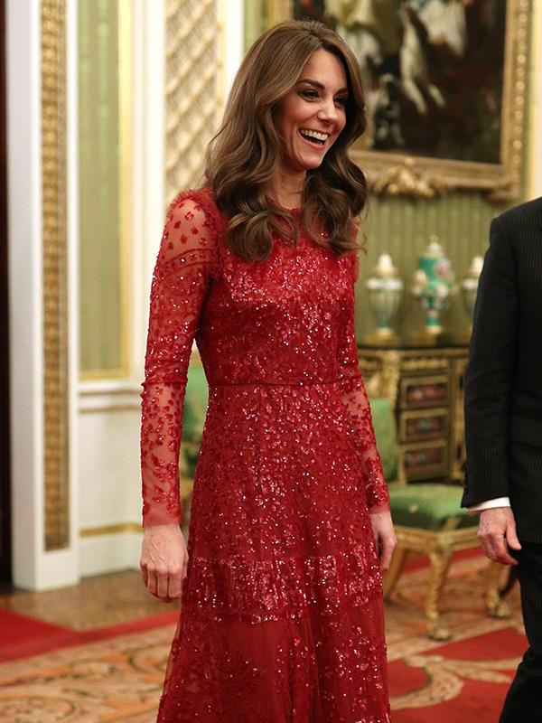 Kate's red dress was heavenly at a Buckingham Palace reception earlier this week.