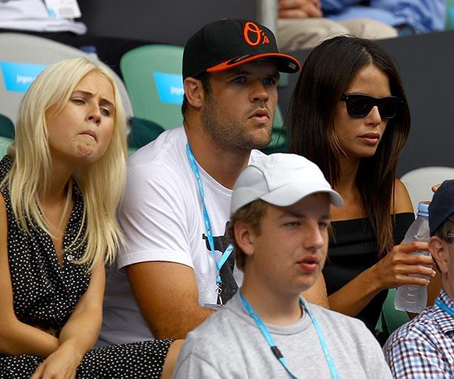 What a line up! *Home and Away* alum Tessa James and Jodi Anasta sat between rugby player Nate Myles in 2011.