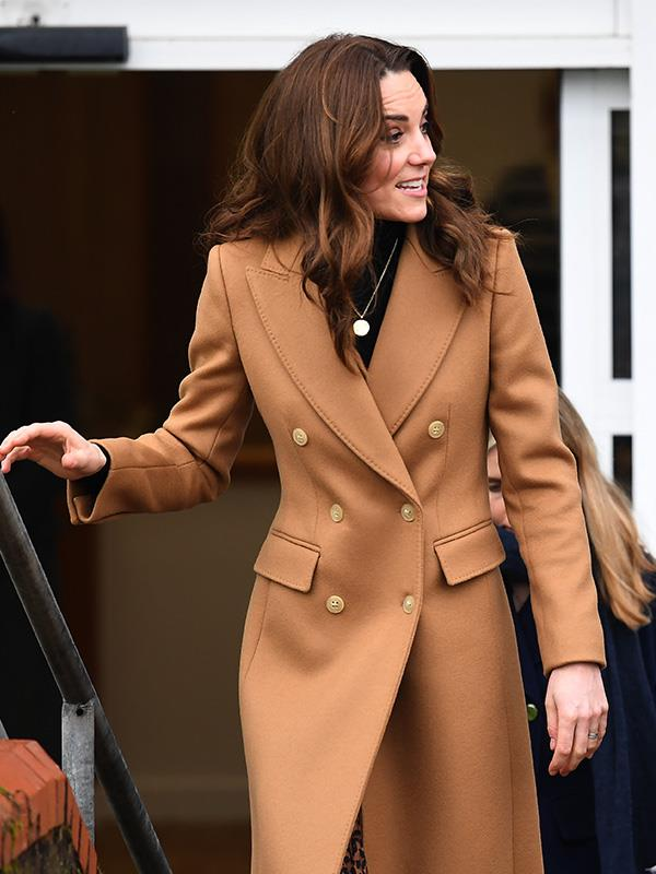 "Kate teamed this fabulous double-breasted coat with a [$20 skirt from Zara](https://www.nowtolove.com.au/royals/british-royal-family/kate-middleton-zara-animal-print-skirt-62260|target=""_blank"")."