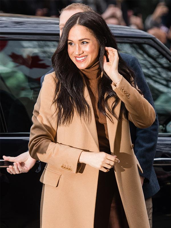 "Meghan also wore a camel coat for her first official public engagement for 2020, wearing Massimo Dutti at [Canada House](https://www.nowtolove.com.au/royals/british-royal-family/prince-harry-meghan-markle-canada-house-2020-62046|target=""_blank"") in London."