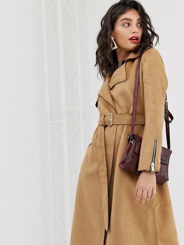 "Suede is such a gorgeous fabric, so naturally we fell in love with this River Island suede coat, available for $128 from [ASOS](https://www.asos.com/au/river-island/river-island-suedette-trench-coat-with-belt-in-camel/prd/11502913?clr=camel&colourWayId=16321785&SearchQuery=camel%20coat|target=""_blank""