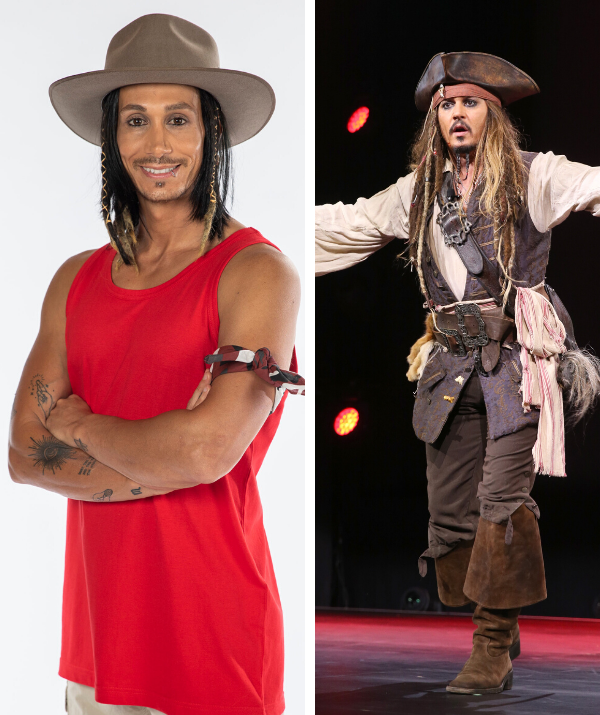 Cosentino has been drawing comparisons to Jack Sparrow by all the camp mates on the show.