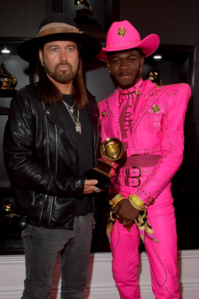 Billy Ray Cyrus and a pink-clad Lil Nas X pose up a storm together.