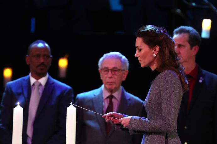William and Kate paid their respects by lighting six candles during the service.