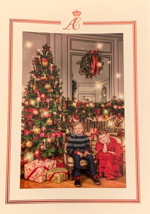 The royal twins posed for the family's annual Christmas card photo in December.