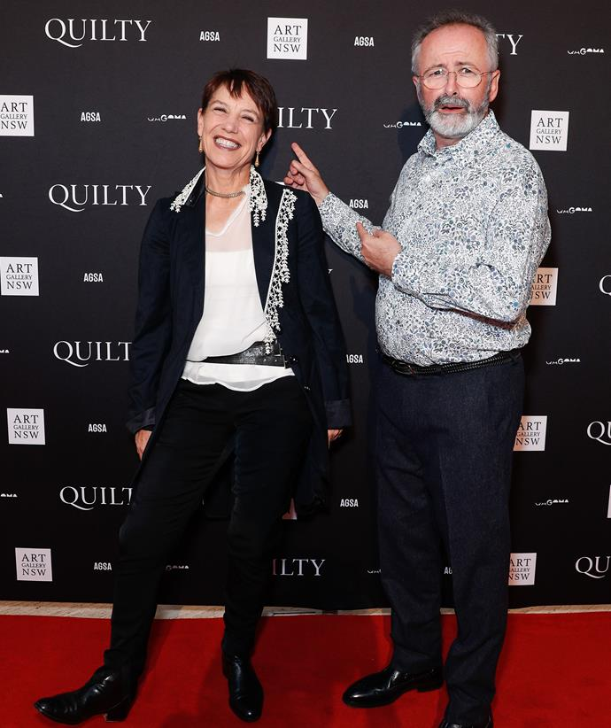 Jennifer with husband Andrew Denton attend the Art Gallery of NSW in November 2019.
