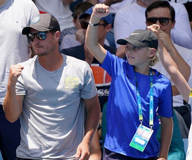 From one tennis pro to another, Lleyton Hewitt was spotted getting into the atmosphere with his 11-year-old son Cruz Hewitt - who's also en route to becoming a pro himself! They were watching fellow Aussie John Millman take on France's Ugo Humbert.